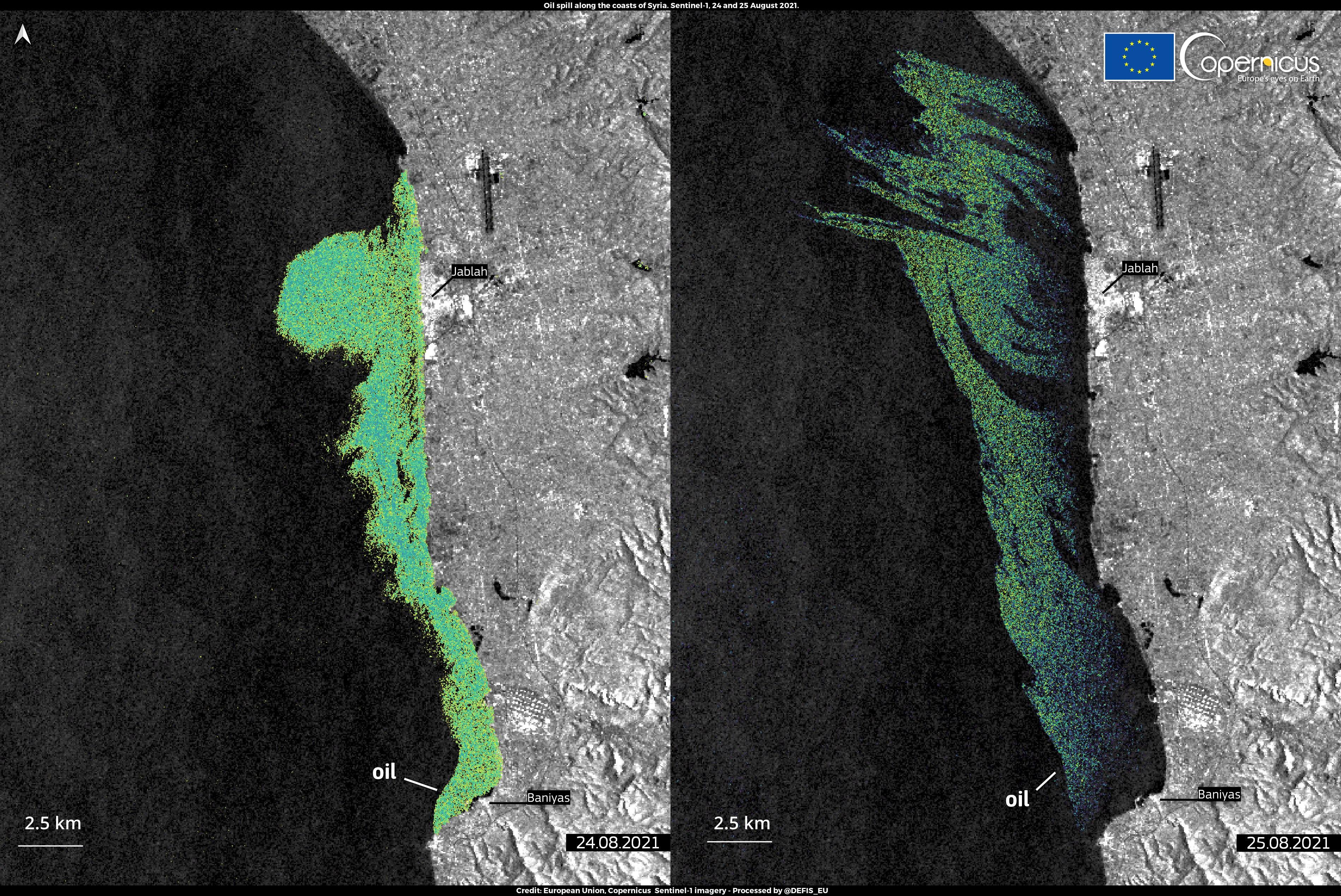 Suriye petrol sızıntısı uydu görüntülerinde, Kaynak: Copernicus