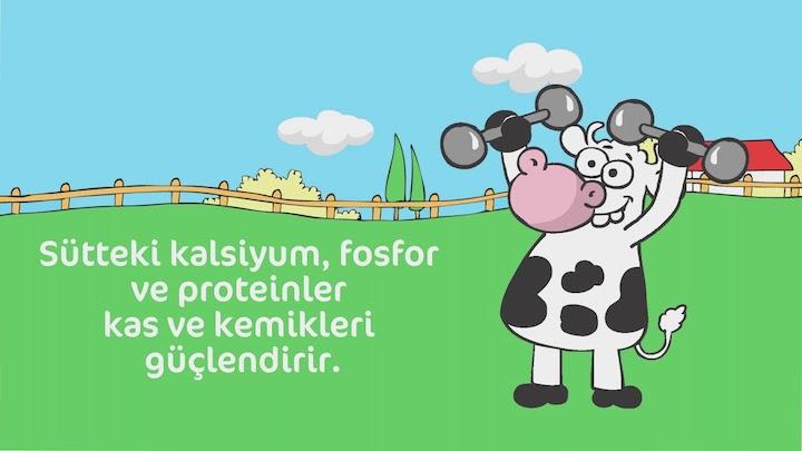 Süt sektörünün insan bedeni ihtiyaçlarını tekelci, yüzeysel ve hayvan sömürüsünü karikatürize edilen hayvanlar ile maskeleyerek aktardığı bir süt reklam afişi